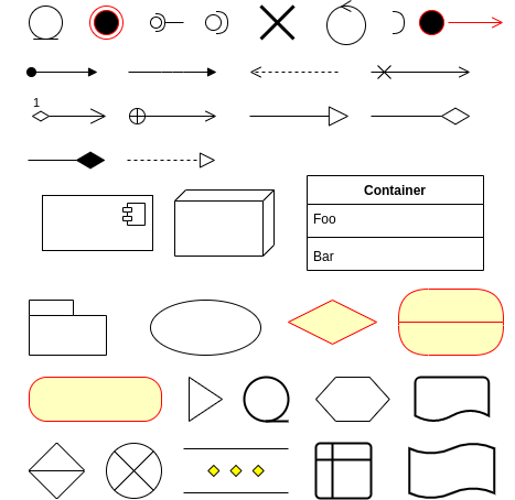 Collection of obscure diagramming shapes